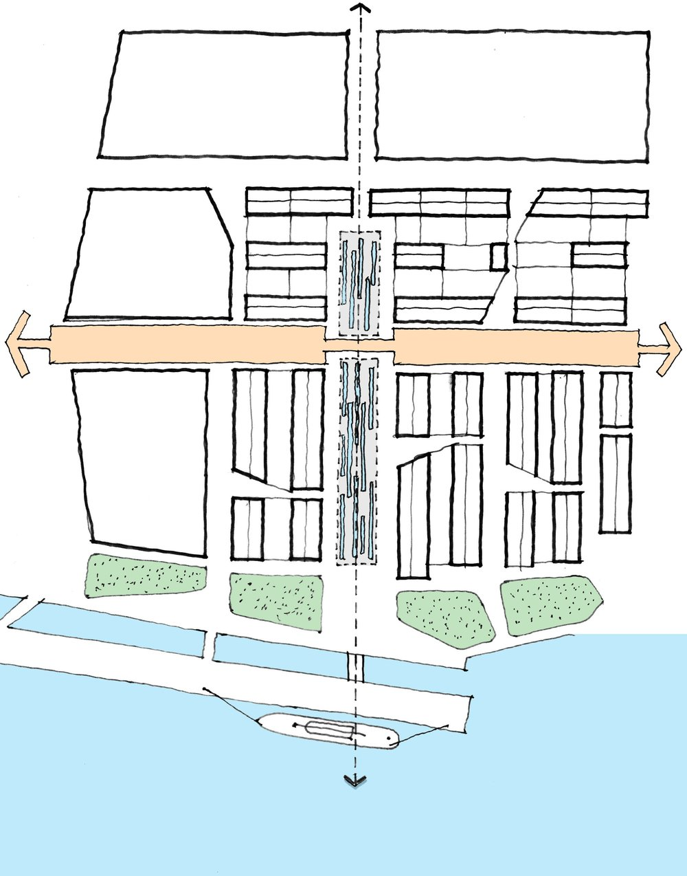 The diagram above illustrates the urban structure design principles for the Northfleet Riverside