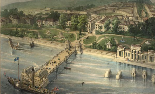 Formal designs for Gravesend show the plans for the town to be laid out in a Georgian style, with a grad pier terminating the town's main axis. -