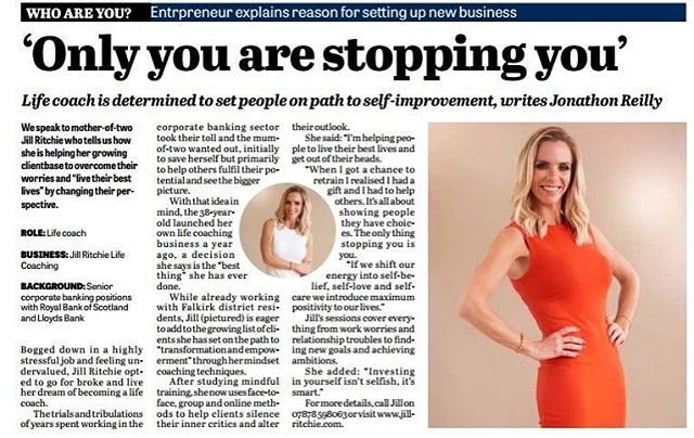 Only you are stopping you...?! True story. 💥 . It's time to choose LOVE over FEAR, and GET OUT OF YOUR OWN WAY. . My first newspaper article of 2019. One of my goals this year is to have more of these articles, along with loads of other goals. . I'll also commit to self love, and BELIEVE that I can do anything I want, if I choose LOVE over FEAR. . Who's with me? 🙋🏼‍♀️🥰 . #creator #lawofattraction #maketodaycount #lifecoach #believeinyourself #believe #achieve #reality #yesyoucan #chooseloveoverfear #bekind #lifecoaching #jillritchiecoaching #justjillcoaching #boom
