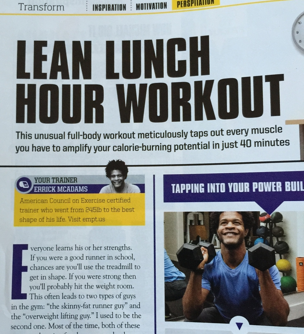 Train Magazine - April 2015. Issue 4. Volume 2.Lean Lunch Hour Workout by Errick McAdams