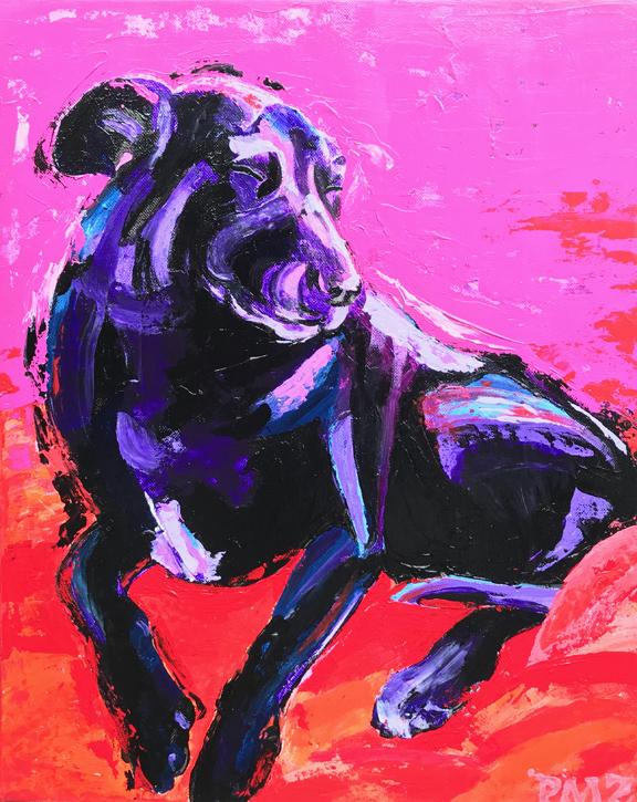 Violet Dozing - Impressionist style, acrylic on canvas