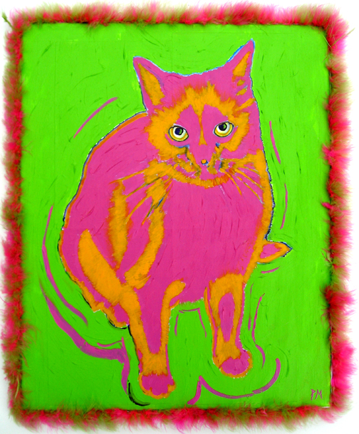 Cat's Meow - Impressionist style, acrylic on canvas, faux fur frame trim
