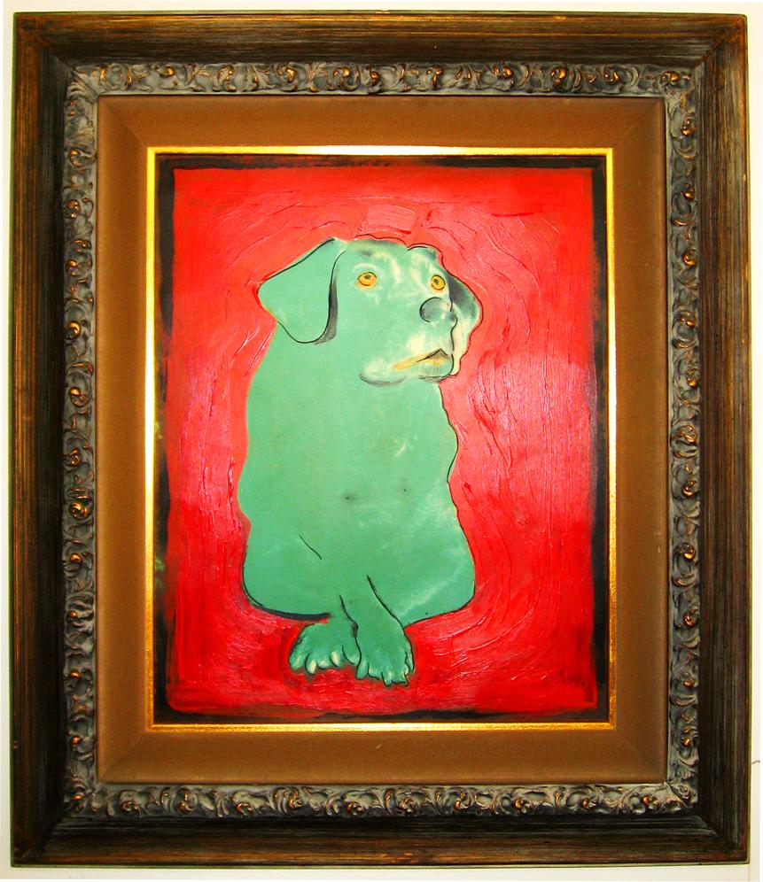 Green Dog - Impressionist style,, oil on panel, vintage frame
