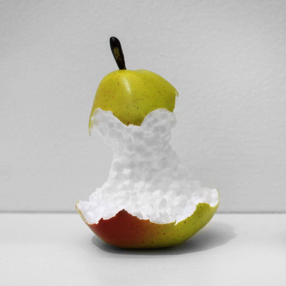 "Bea Fremderman,  Pear,  2017, Styrofoam and vinyl, 5 x 3 x 3"". Courtesy of Division Gallery."