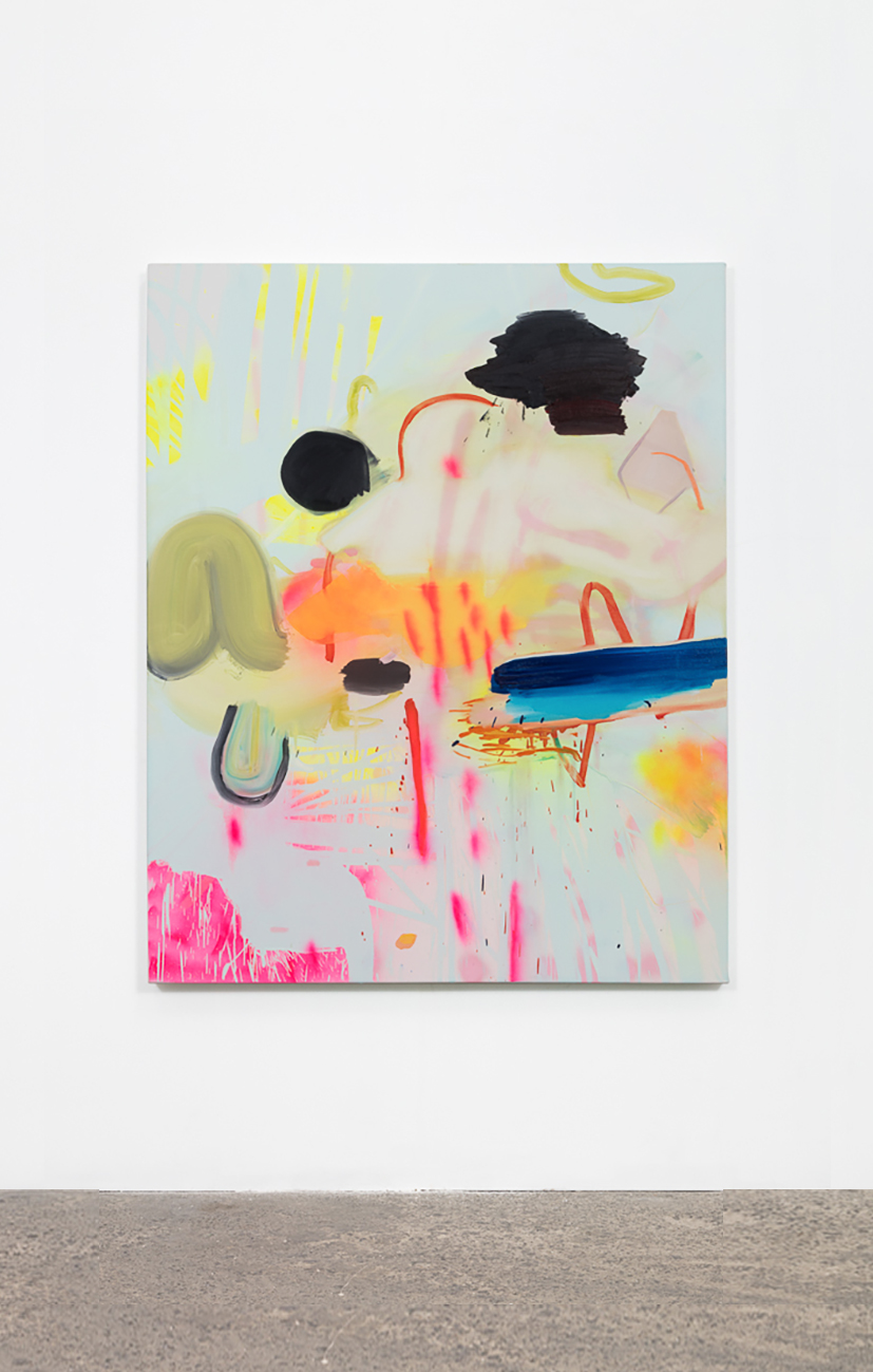 """Jennifer Lefort, Uninterrupted Conversations, 2016, Oil and spray paint on canvas, 48 x 60"""". Courtesy of Division Gallery."""