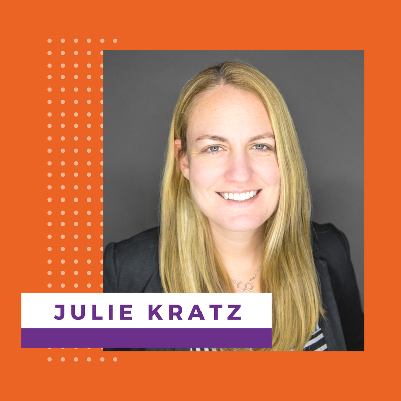 "Julie Kratz   Julie Kratz is a highly-acclaimed leadership trainer who led teams and produced results in corporate America for nearly two decades. After experiencing her own career ""pivot point,"" Julie developed a process to help women leaders create their winning career game plan. Focused on promoting gender equality in the workplace and encouraging women with their ""what's next"" moments, Julie is a frequent keynote speaker and executive coach."
