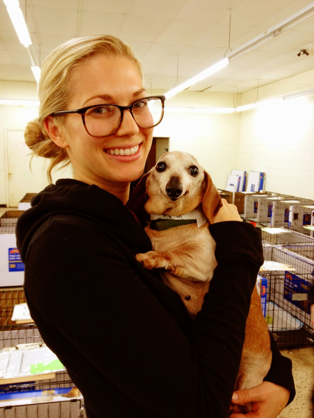 Breanna at puppy mill raid with an adorable dachshund