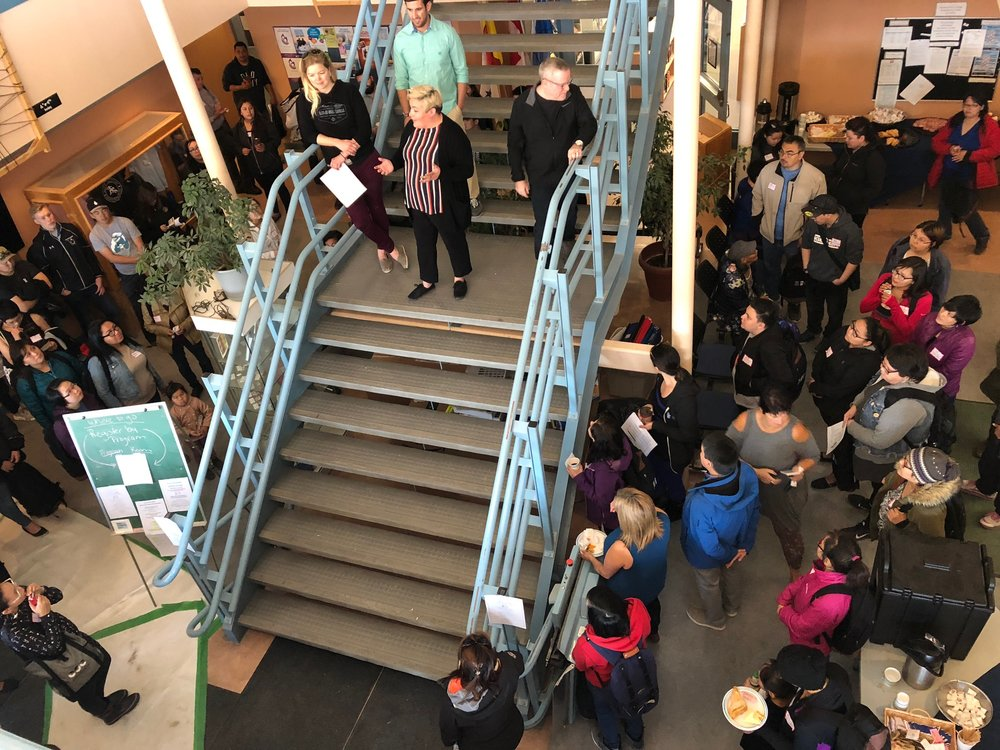 Rebecca Mearns, Dean, Education, Inuit and University Studies, and Learners Services Team welcoming learners at Nunatta Campus on September 4th, 2018