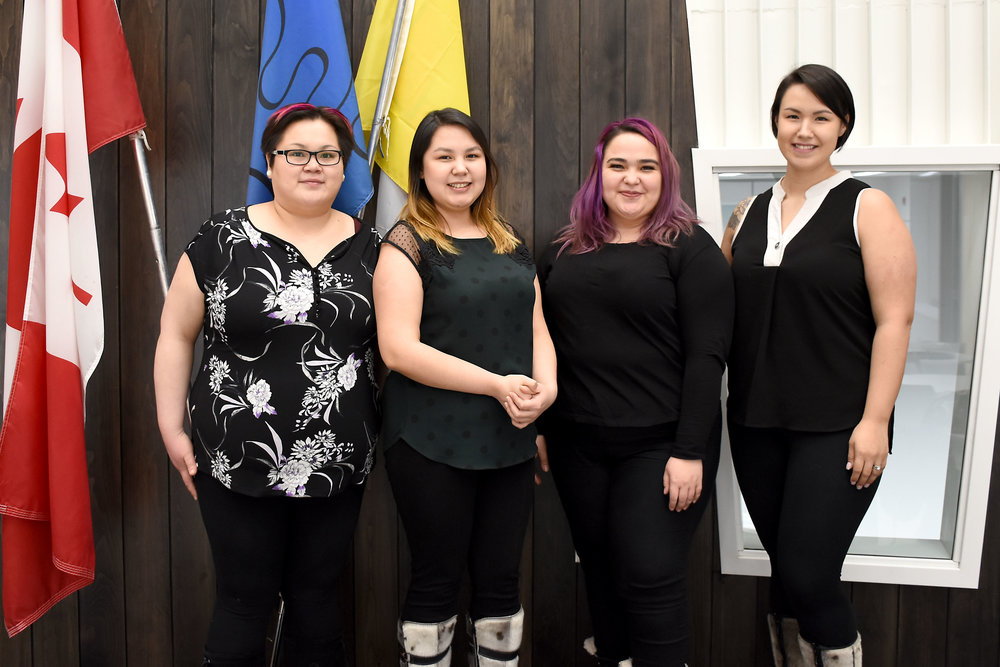From left to right: Wendy Savikataaq, Jena Merkosak, Oopik Aglukark, Melynda Ehaloak