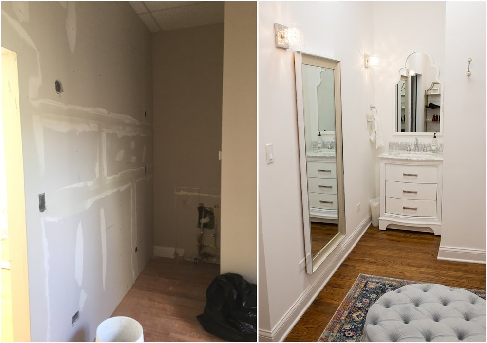 Before (left) and after renovation (right) - Chicago Boudoir Photography studio - Vanity area