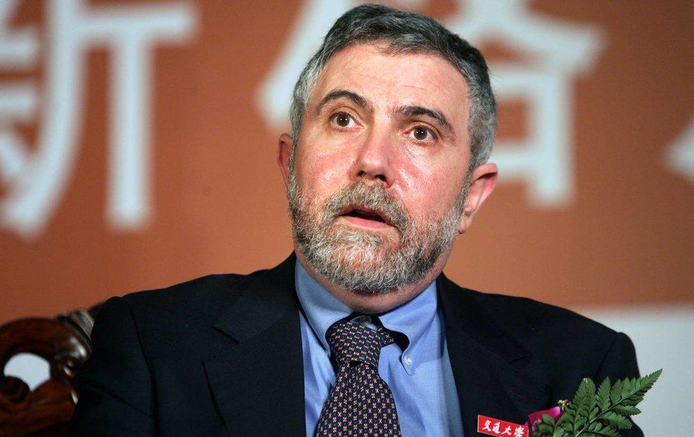 Paul Krugman appears at a forum in Shanghai.  (Imaginechina via AP Images)
