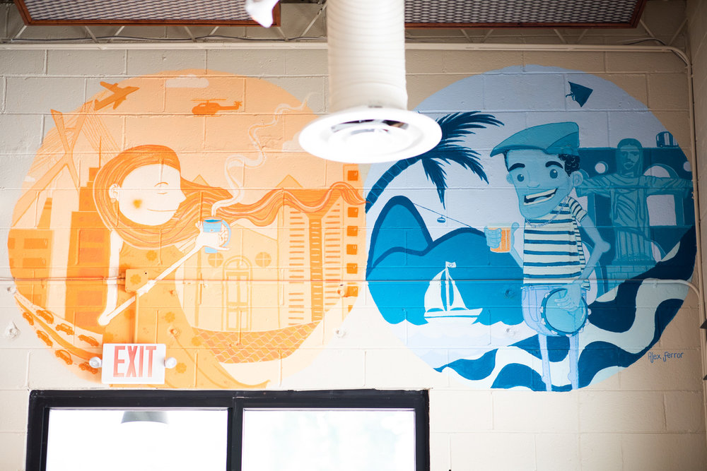 Mural by Atlanta's  Alex Ferror  inside Buteco. See Alex's Instagram  post  detailing his artwork.