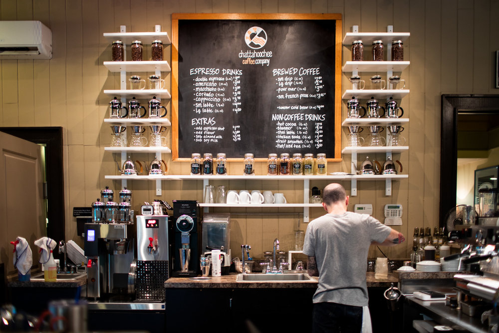 The main coffee ordering area of Chattahoochee Coffee Company. Espresso drinks, brewed coffee, and tea are on the menu.