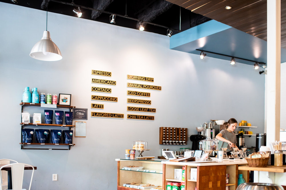 Interior of Taproom Coffee. The coffee for sale is from East Pole Coffee Company, a local Atlanta coffee roaster and coffee shop.