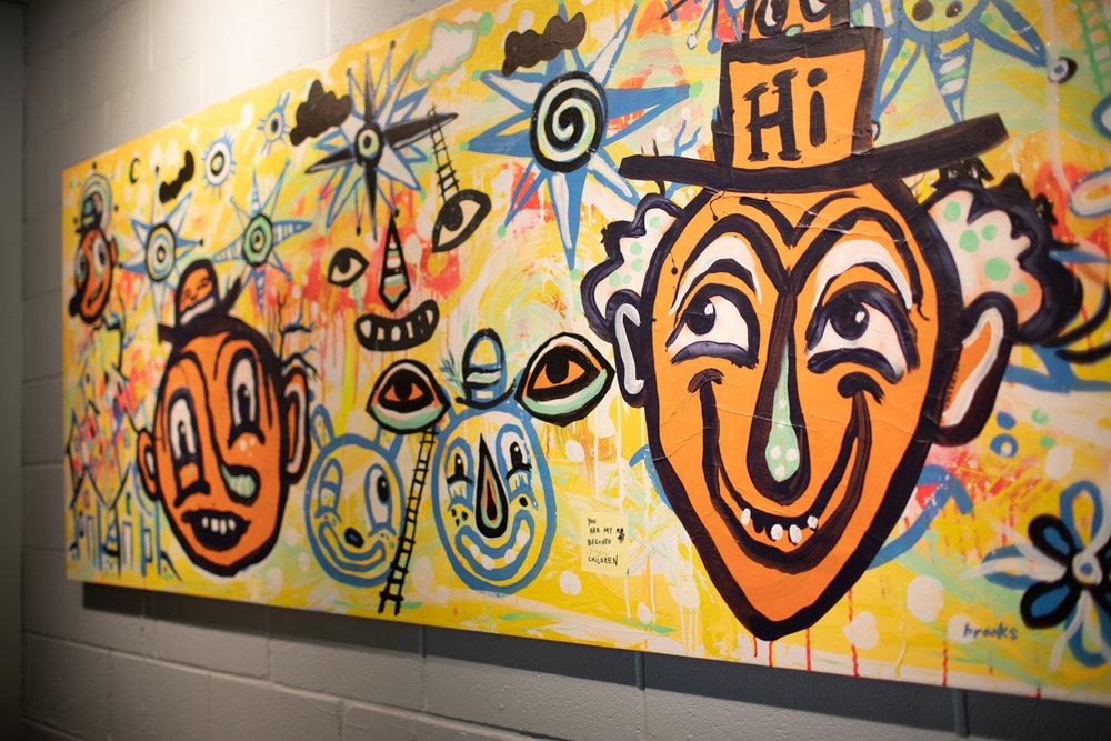 Artwork inside Taproom Coffee.