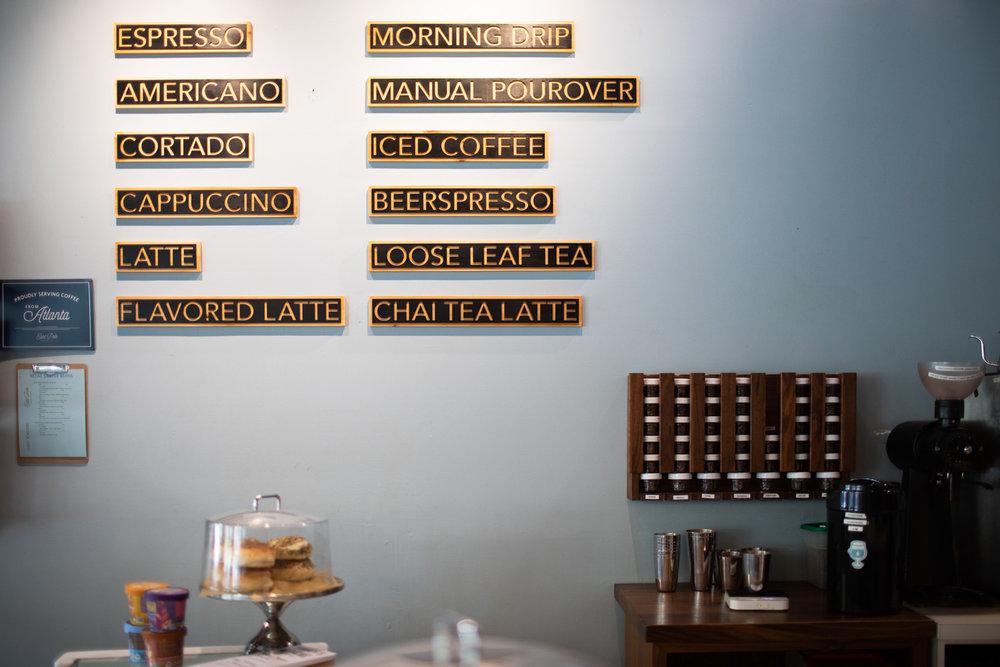 The coffee/tea menu is straightforward.