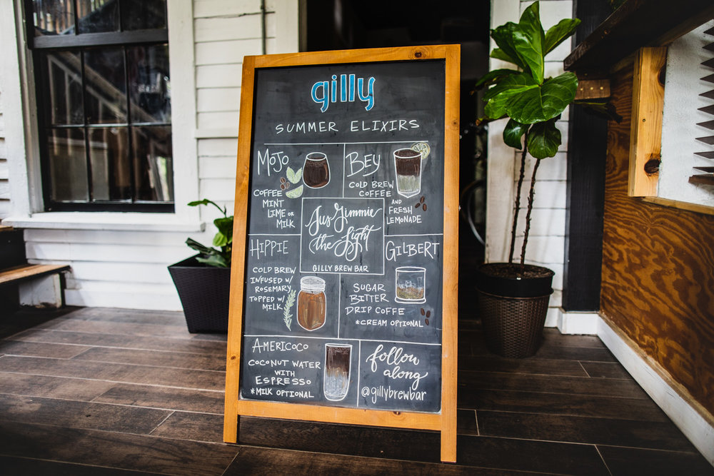 The summer elixir menu at Gilly Brewing Company.