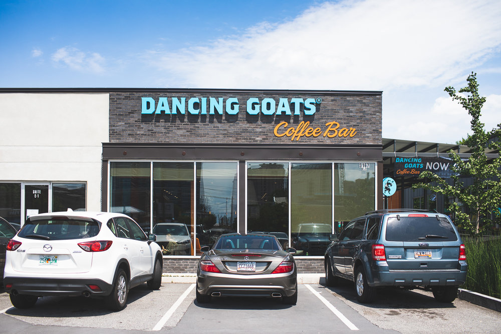 Outside view of the new Dancing Goats coffee shop in the Buckhead neighborhood of Atlanta, GA.