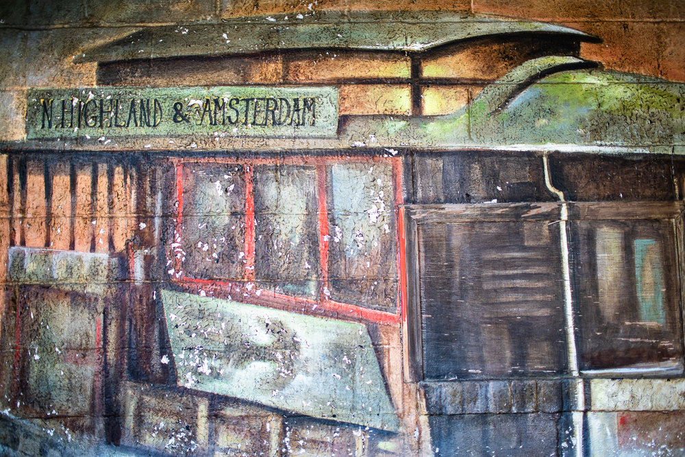 A close-up from art painted at the back wall at San Francisco Roasting Company.
