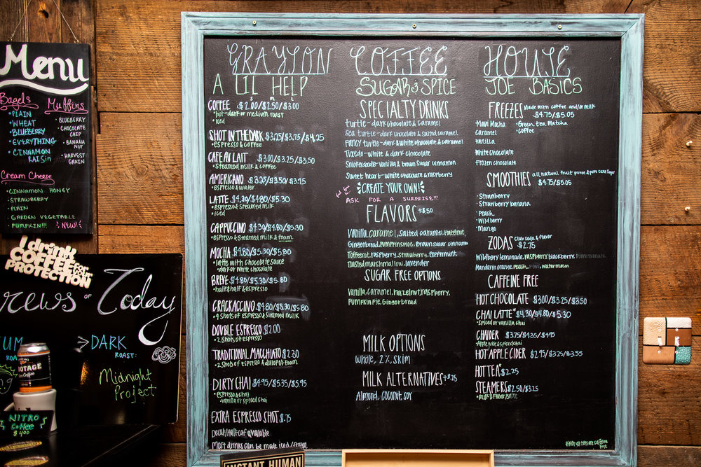 The drink menu at Grayson Coffee House—teas, coffee, and smoothies.