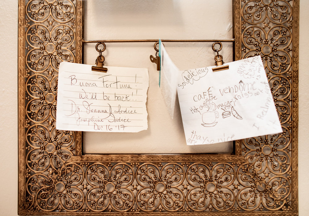 Hand-written notes seen inside the café.