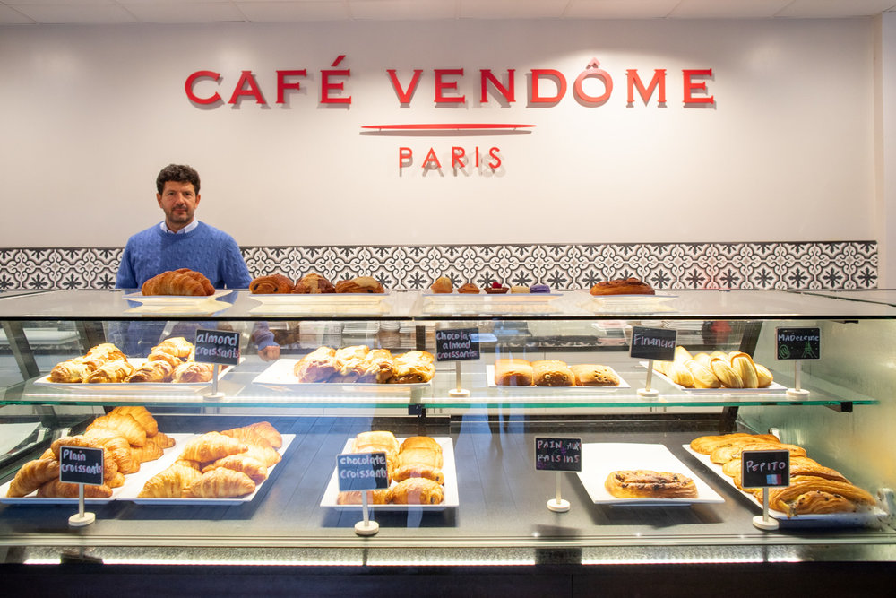 Croissants and other freshly-baked pastries on display at Café Vendôme.