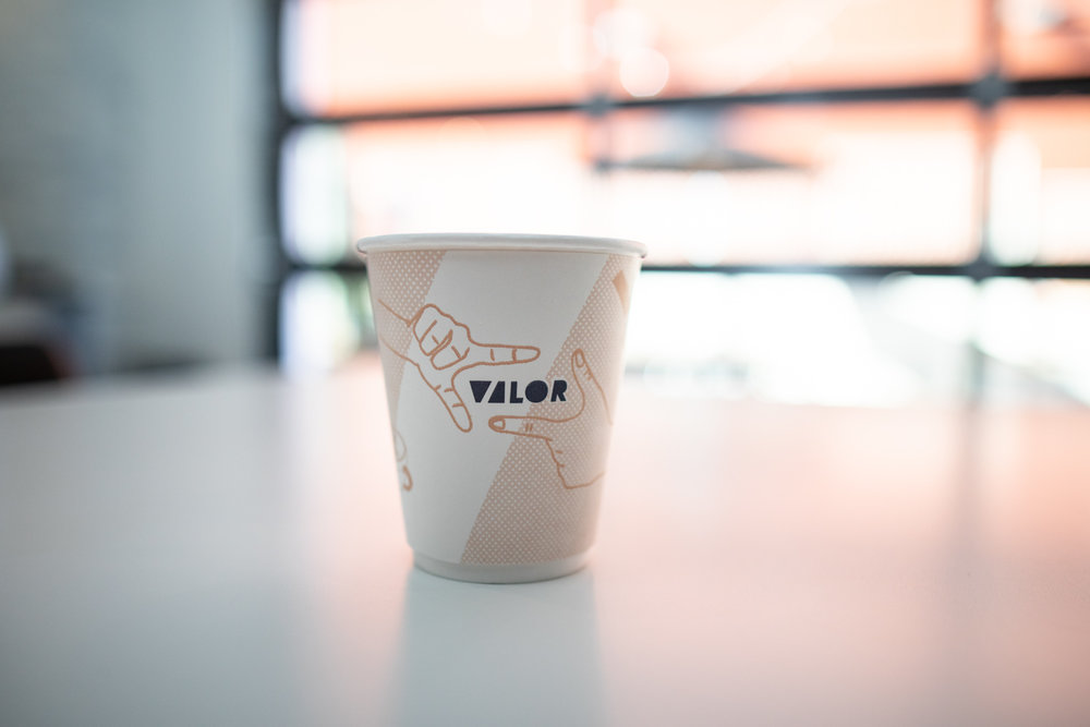The Valor Coffee cup. Very cool branding/design.