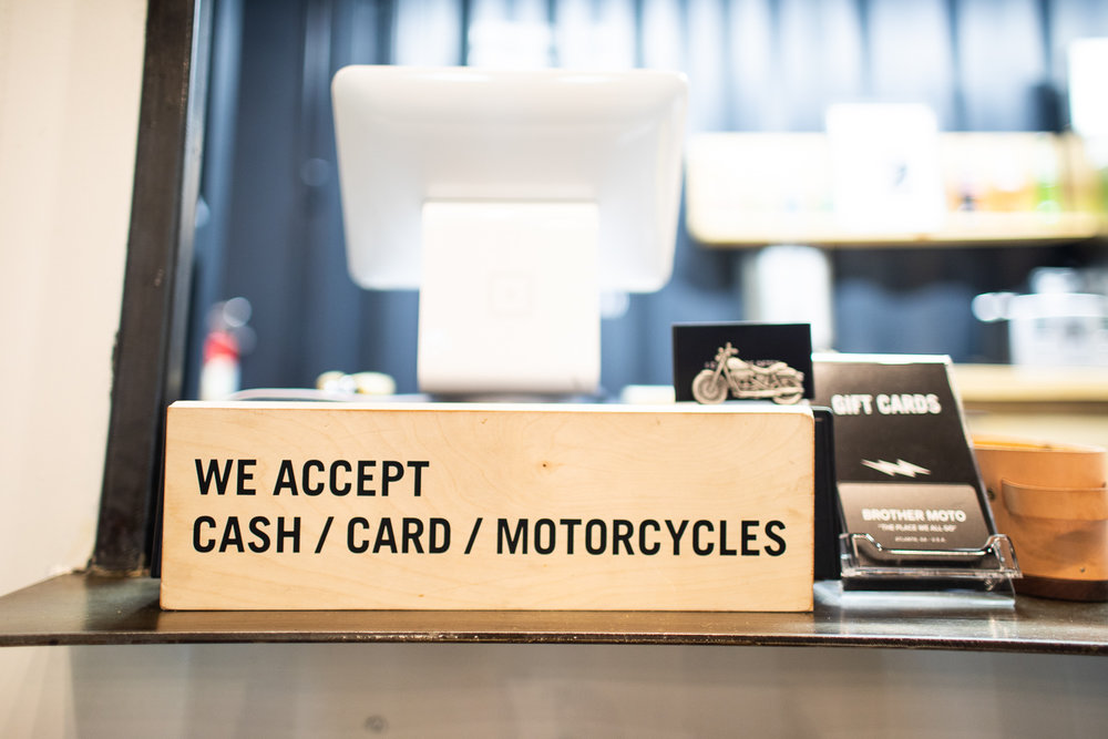 We accept CASH / CARD / MOTORCYCLES.
