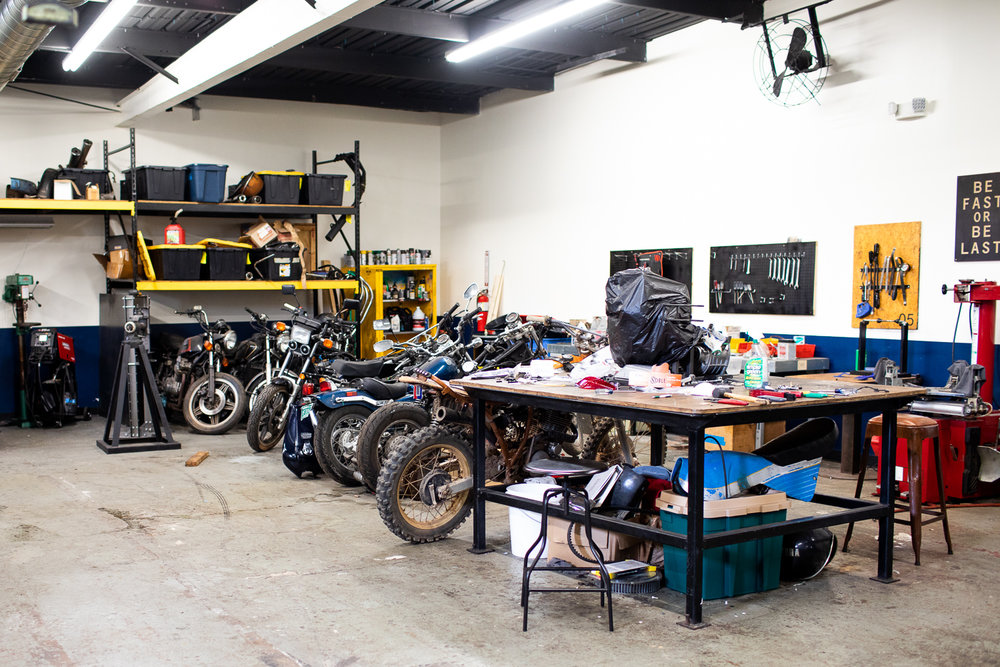 Inside the members-only garage at Brother Moto.