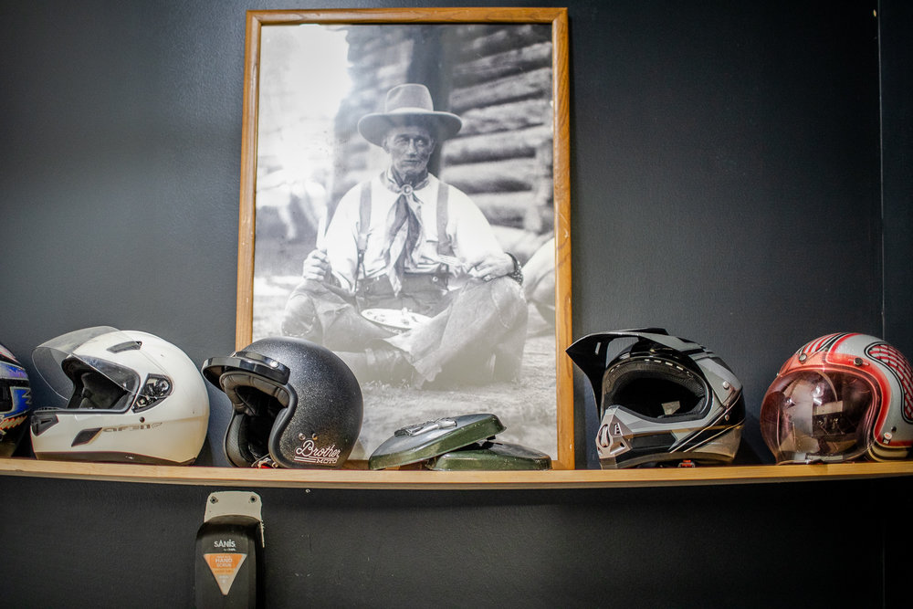 Helmet display at Brother Moto.