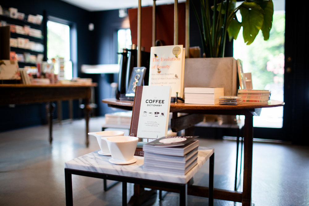 It wouldn't be a true bookstore/coffee shop hybrid if books about coffee weren't for sale.