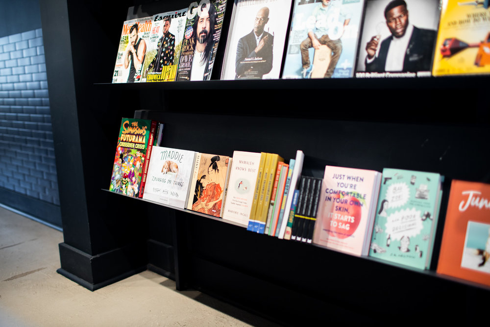 Bestsellers and magazines on display at Read Shop.