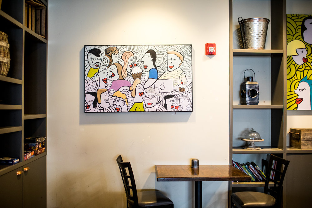 Art on the walls at Copper Coin.