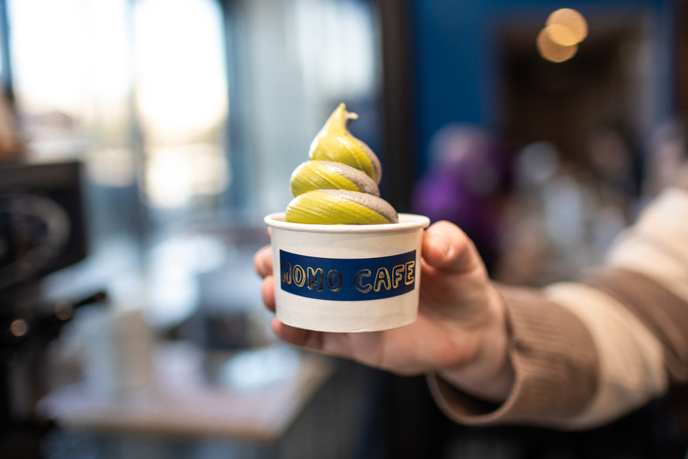 Soft serve ice cream at Momo Cafe. You can't go wrong with the matcha and sesame combination.