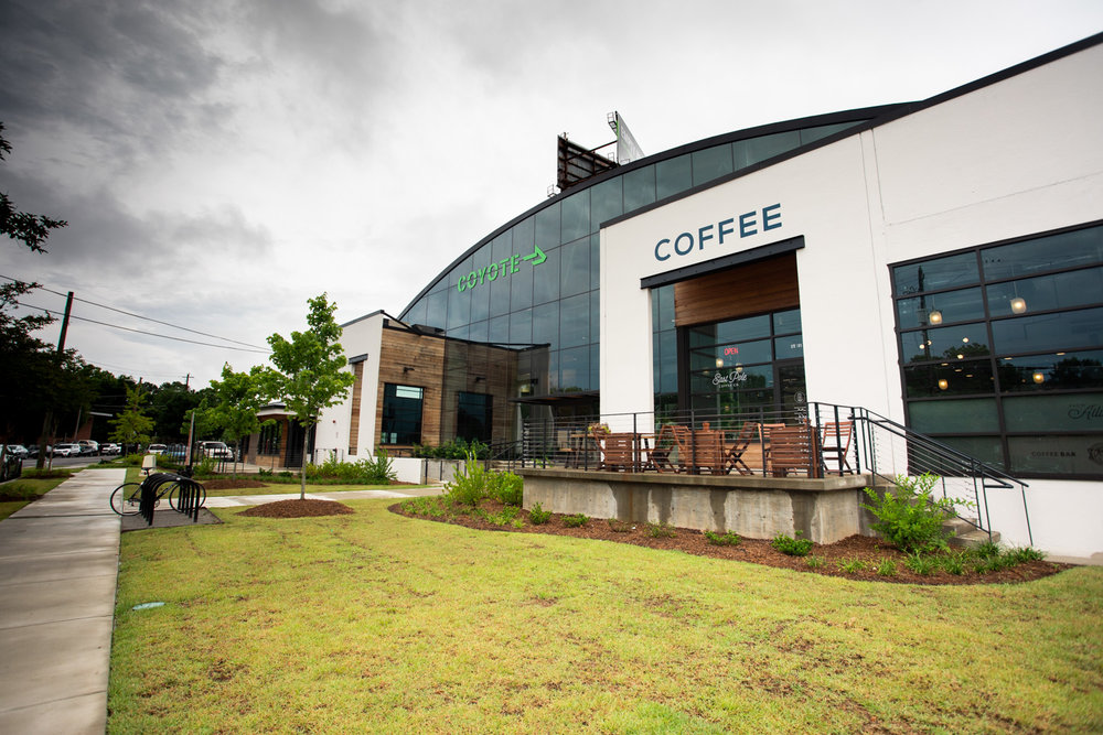 Exterior of East Pole Coffee Company located on Ottley Drive.