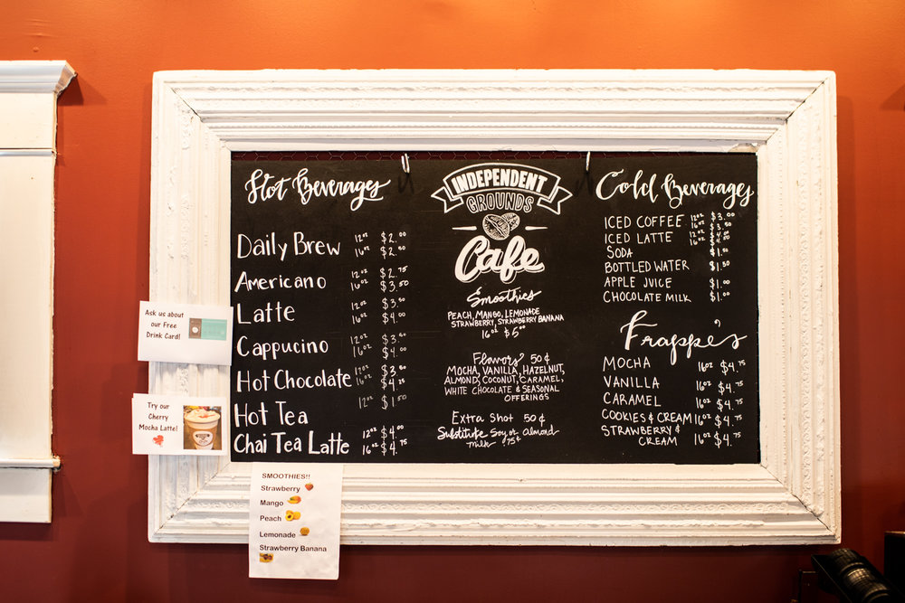 The menu at Independent Grounds Cafe. Independent Grounds Cafe is partnered with Smyrna-based coffee roaster  Rev Coffee  for their beans.