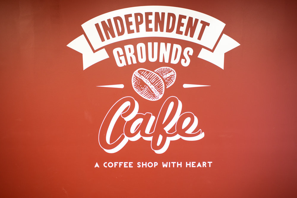The logo. Independent Grounds Cafe: a coffee shop with heart.
