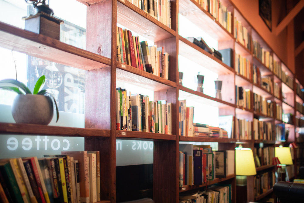 Detail from a bookshelf at Cafe Rothem.