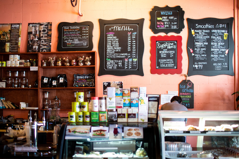 The menu(s) at Cafe Rothem. Coffee drinks, teas, smoothies, waffles, and even ice cream are available.