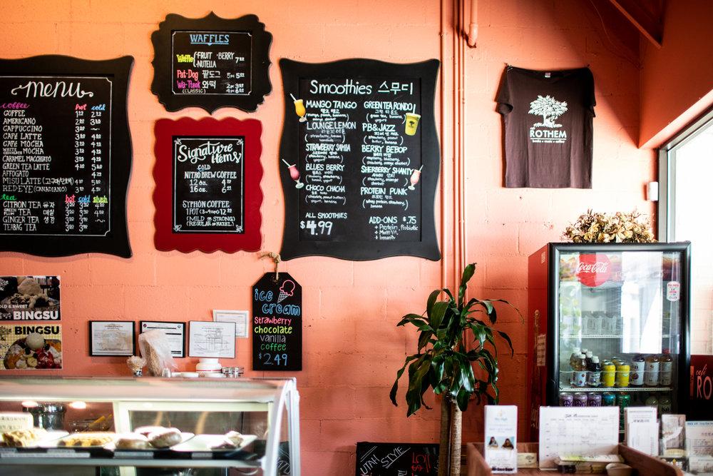 Detail of the menus at Cafe Rothem.