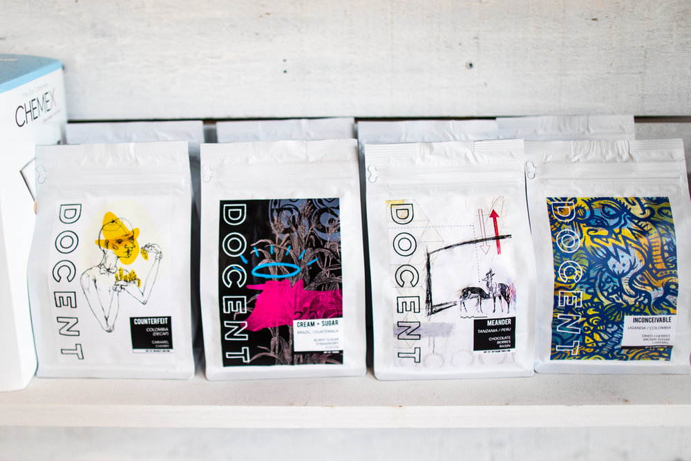 A selection of coffees at Docent Coffee. From left to right:  Counterfeit ,  Cream+Sugar ,  Meander , and  Inconceivable .