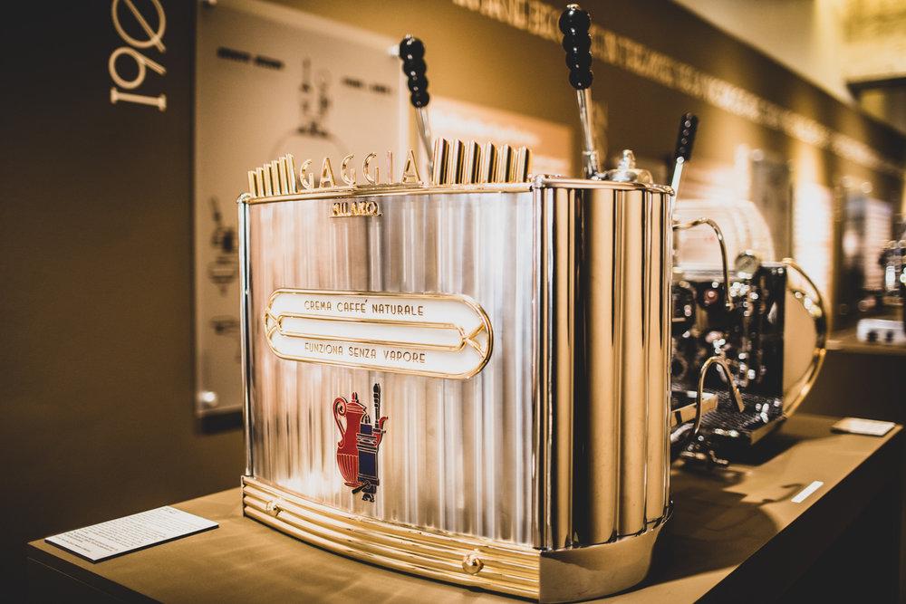 Another view of the 1952 Gaggia Milano espresso machine on display at MODA's  Passione Italiana  exhibition.