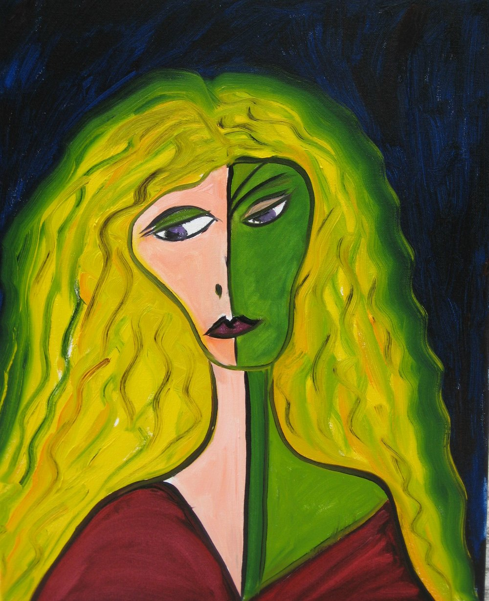 Jealousy--Sold--another in work 24x24 inches gallery wrap