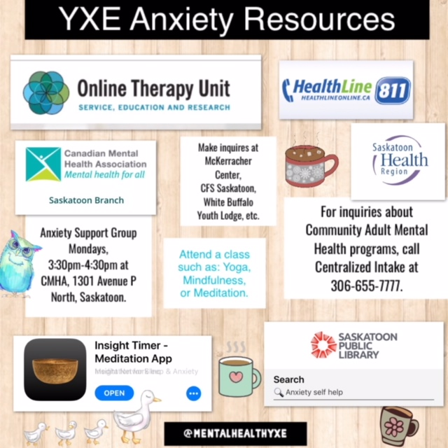 Anxiety Support Resources In Saskatoon.