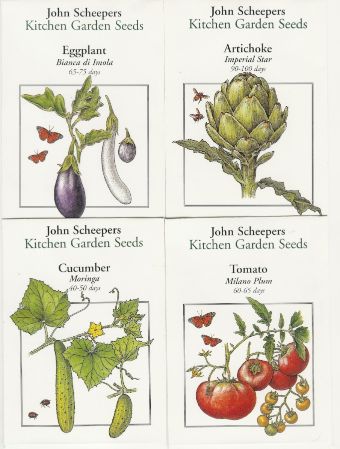 Seed packet designs for John Scheepers Kitchen Garden Seeds.