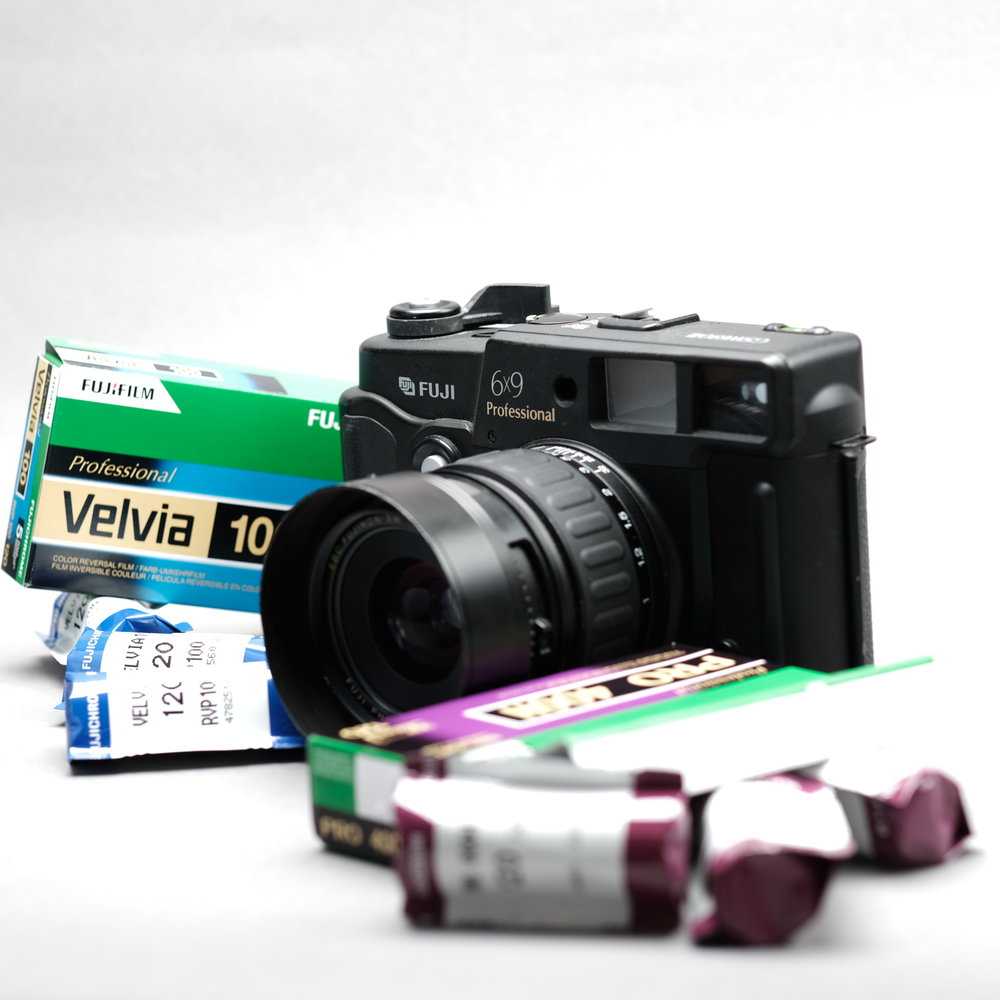 Used Fujifilm GSW690 III 6x9 - Finally a camera made for the big handed photographers out there. The Fuji 6x9 rangefinder camera is sometimes referred to as the