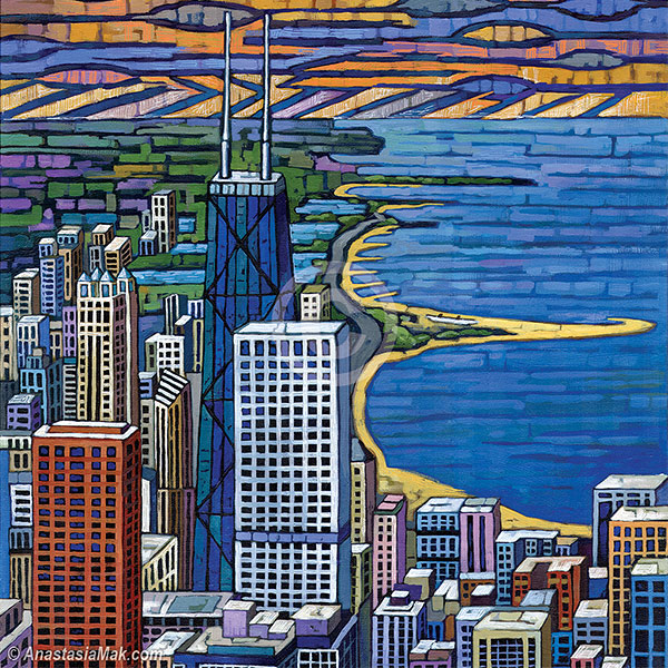 Anastasia Mak Art   My paintings are inspired by destinations. They originate from photos and sketches that I capture while traveling, or exploring Chicago. They combine bright colors and abstract / geometrical forms with compositions containing buildings, trees, or landscapes — Anastasia Mak   www.anastasiamak.com