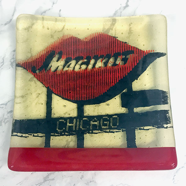Kiku Handmade   I make colorful + contemporary coasters + serving pieces by screen printing designs onto colorful sheet glass, then fusing in a kiln.  My pieces feature bold graphics, botanical drawings, pop-culture personalities + iconic city landmarks, and are as functional as they are pretty — Laurie Freivogel   www.kiku-co.com