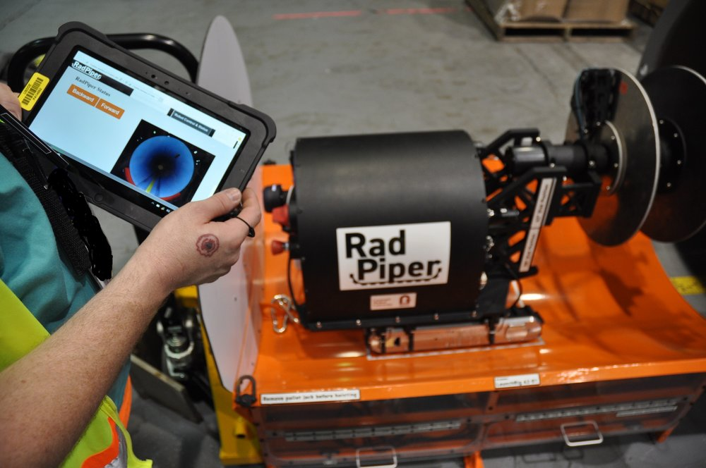 RadPiper with the tablet interface, ready to launch.