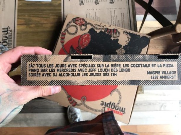 Pssst... Have you seen this on our new artsy take-out boxes? Order out your next #pizza and keep the box. 😉 Designed by @stellameteore. ❤️ #LocalTalent #PizzeriaMagpie . . . . . . #foodie #mtlfoodie #foodphotography #food #mtleats #mtl #mtlrestaurant #montreal #mtlfood #mtlmoments #restaurant #mtlblog #takeout #drinks #foodporn #foodblogger #foodstagram #foodlover #localeats #pizza #beer #pizzaparty #instagood #specials #pizzatime #5a7 #photooftheday